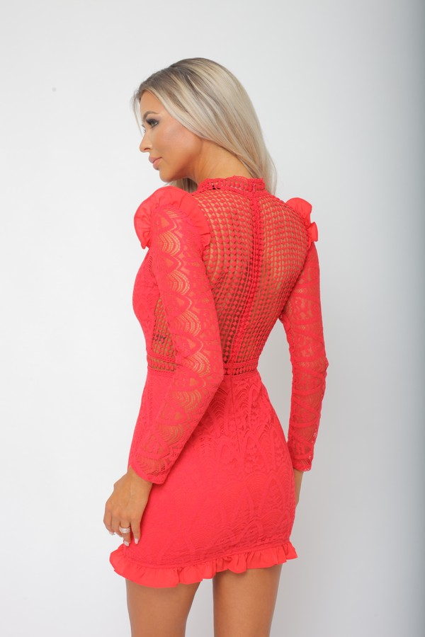 Tiby Long Sleeve Lace Mini Dress in Red